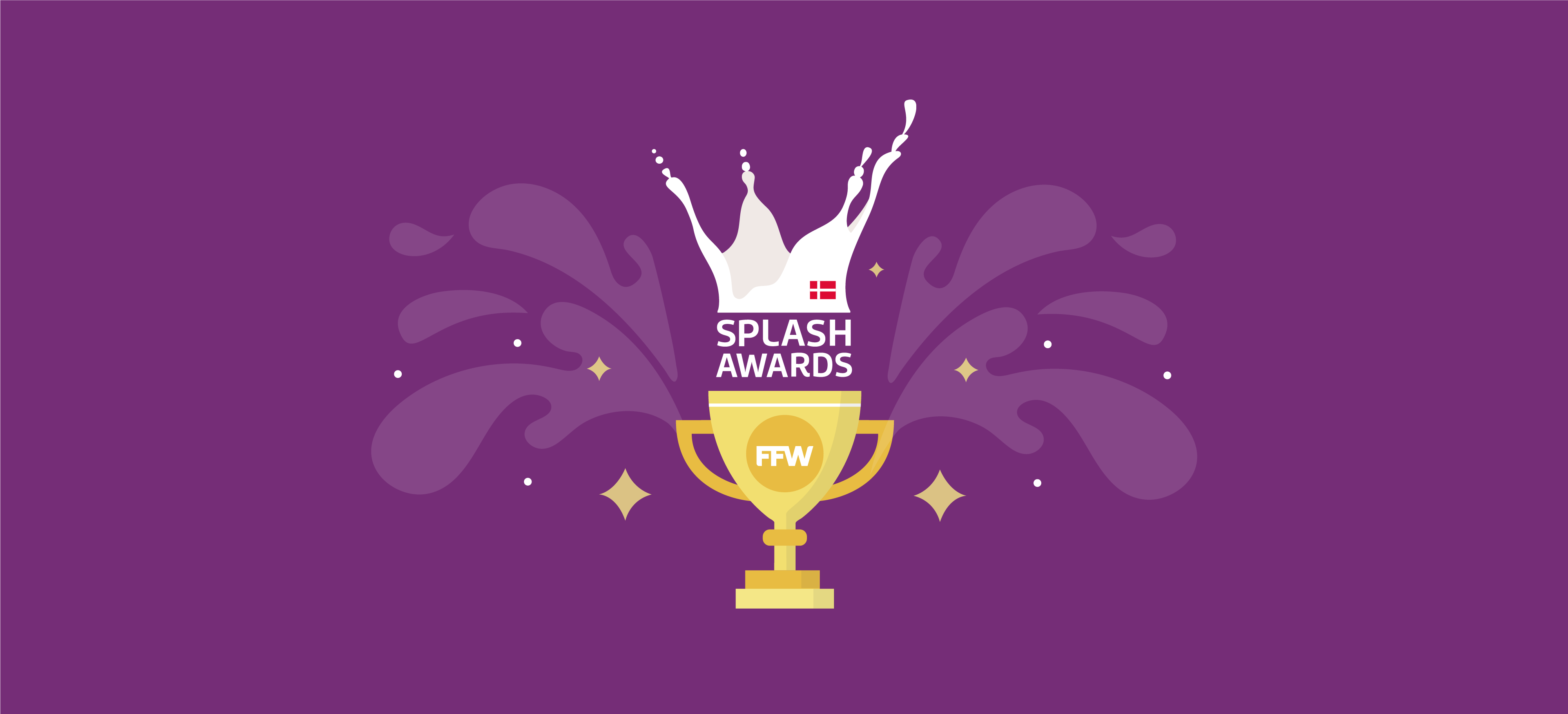 Art of a golden trophy reading FFW Splash Awards on a purple background