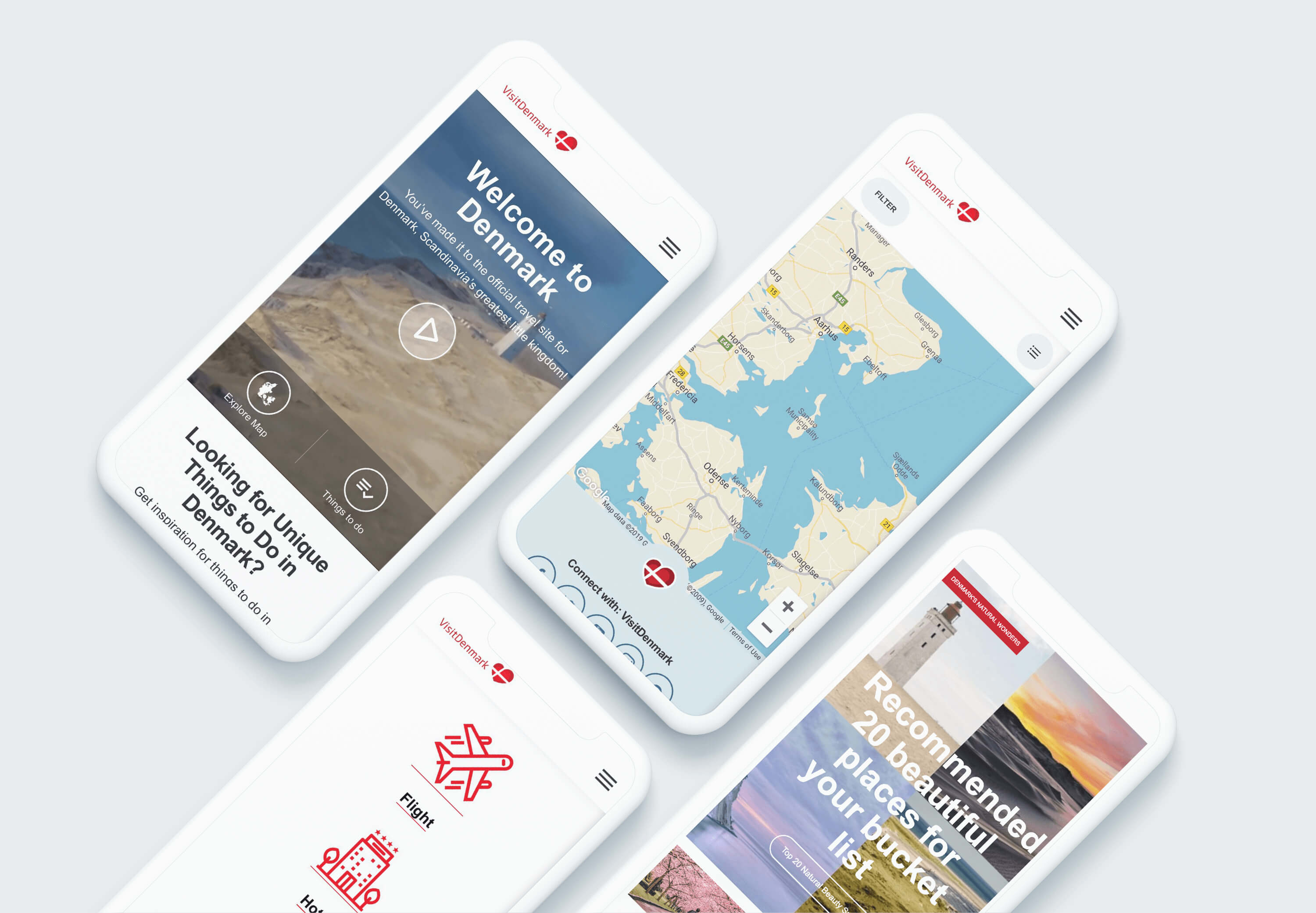 Images of Visit Denmark mobile design