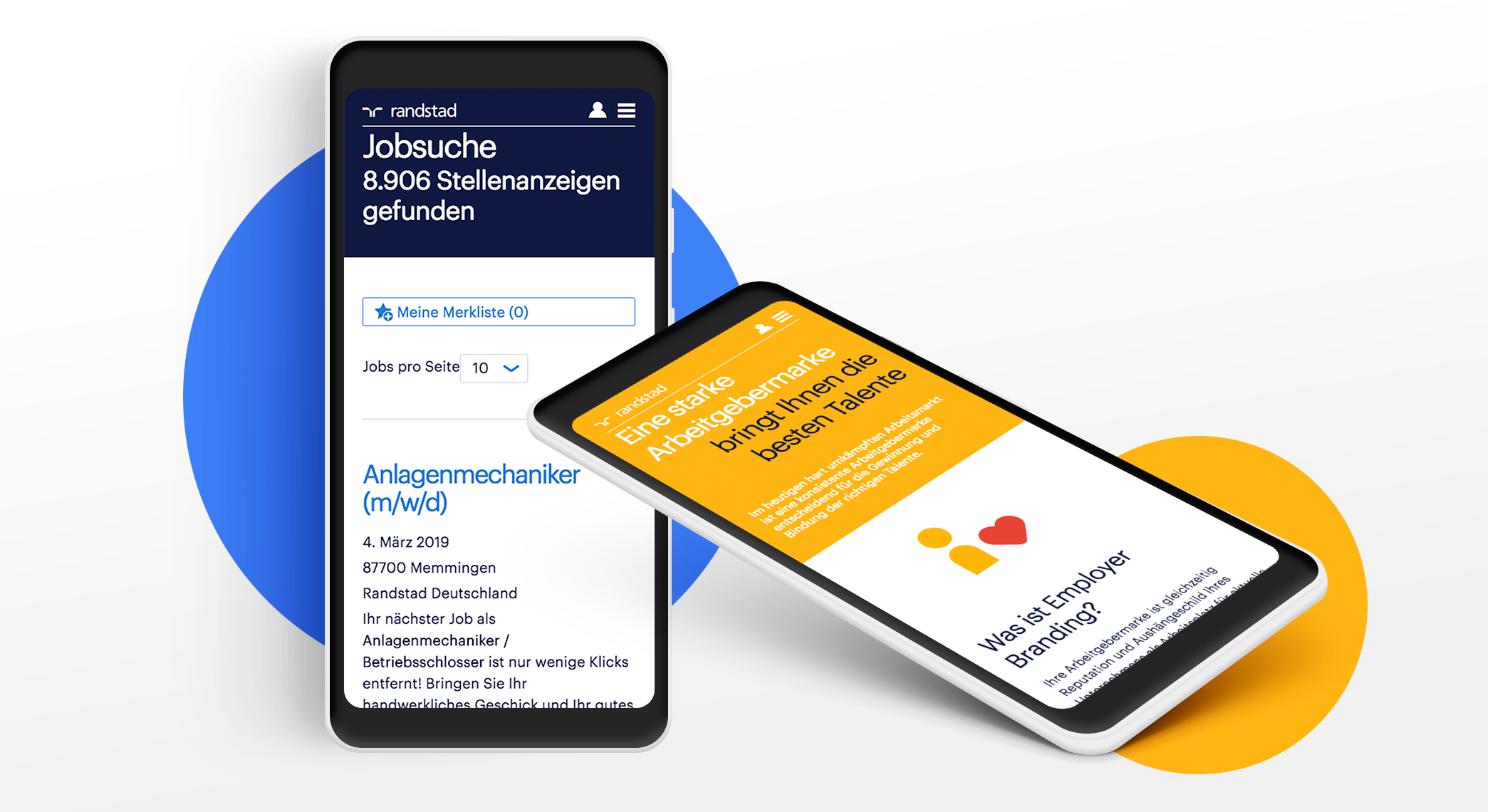 Randstad site displayed on two mobile devices