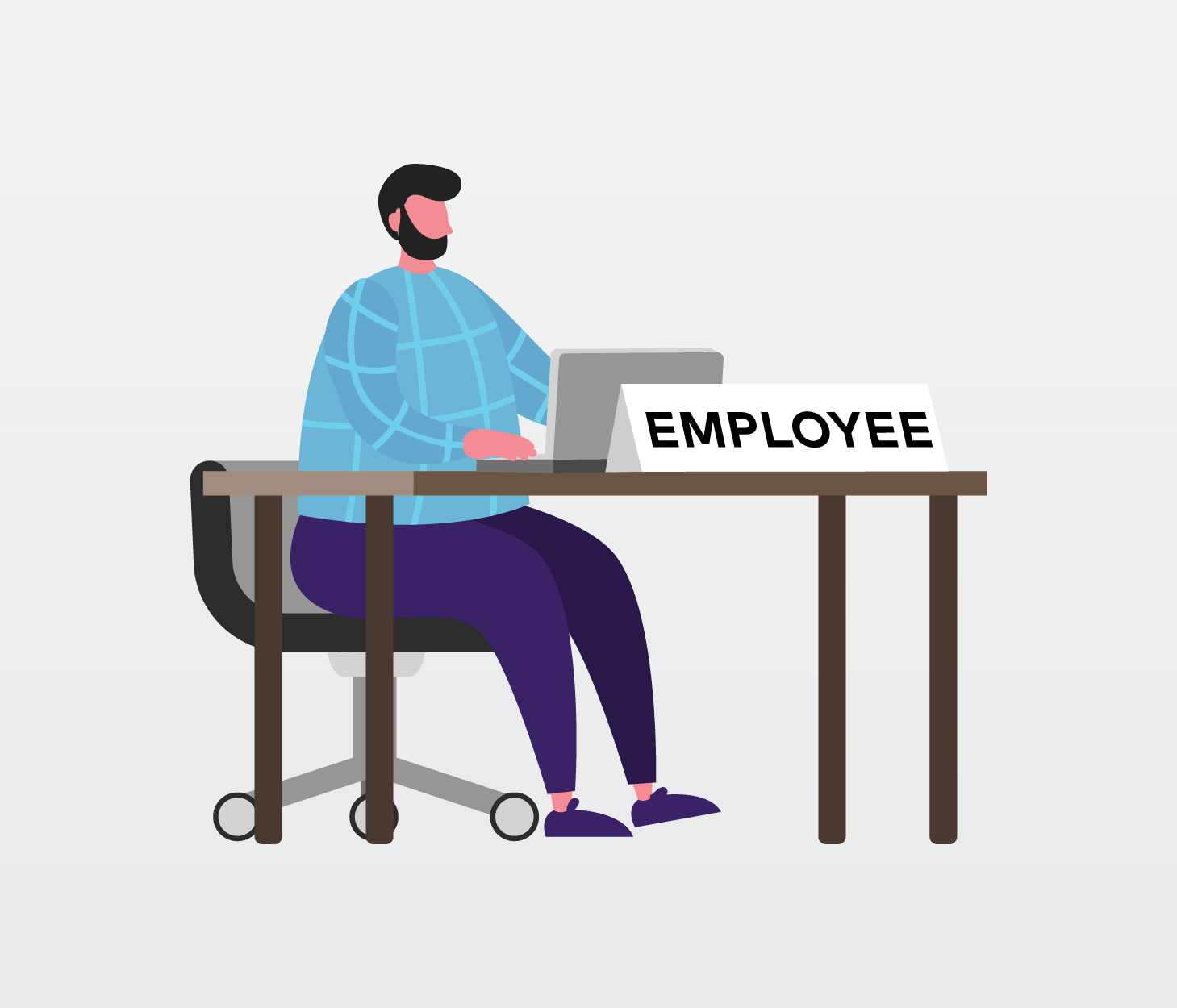 "Image of man sitting at desk with name tag that says ""EMPLOYEE"""