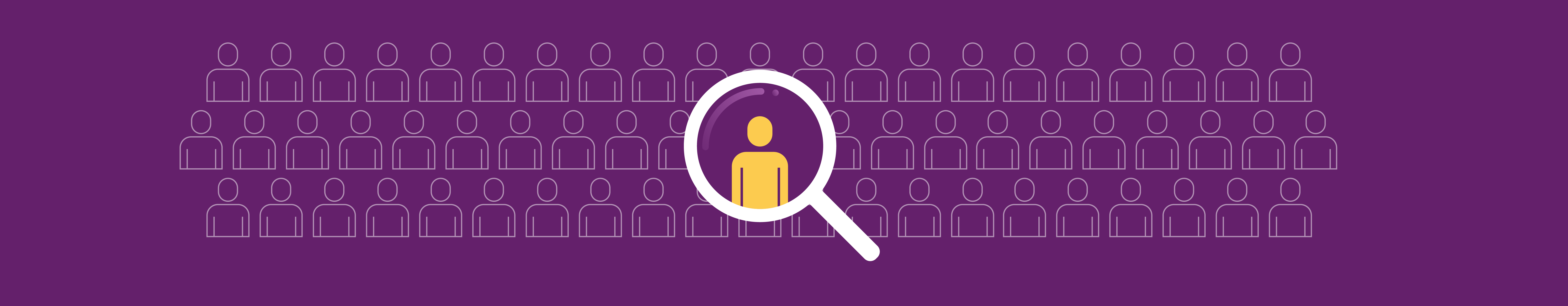 Image of yellow figure in the middle of magnifying glass surrounded by other people on a purple background