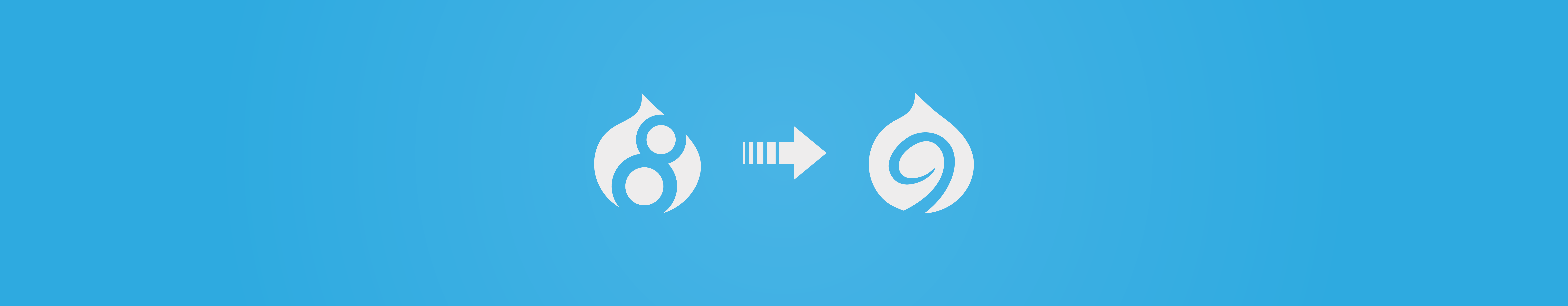 Image of Drupal 8 icon with arrow pointing to Drupal 9 icon on blue background