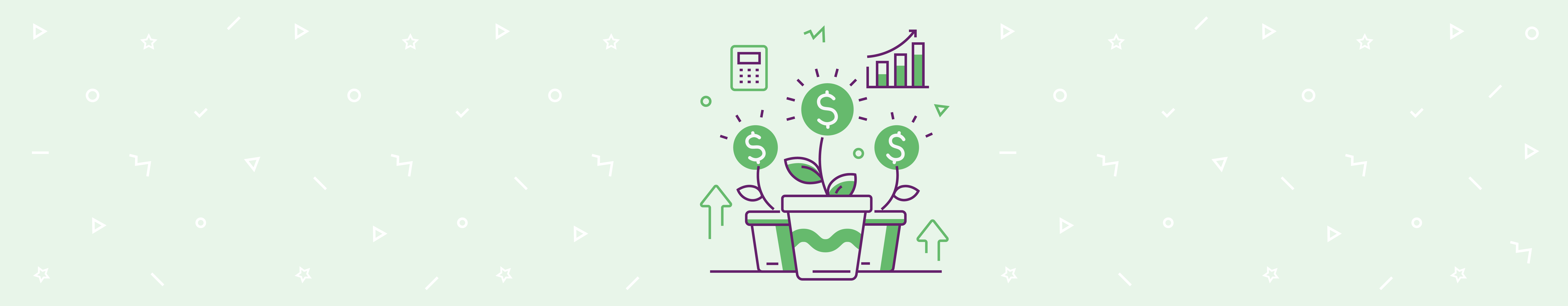 Images representing a productive sales team on green background