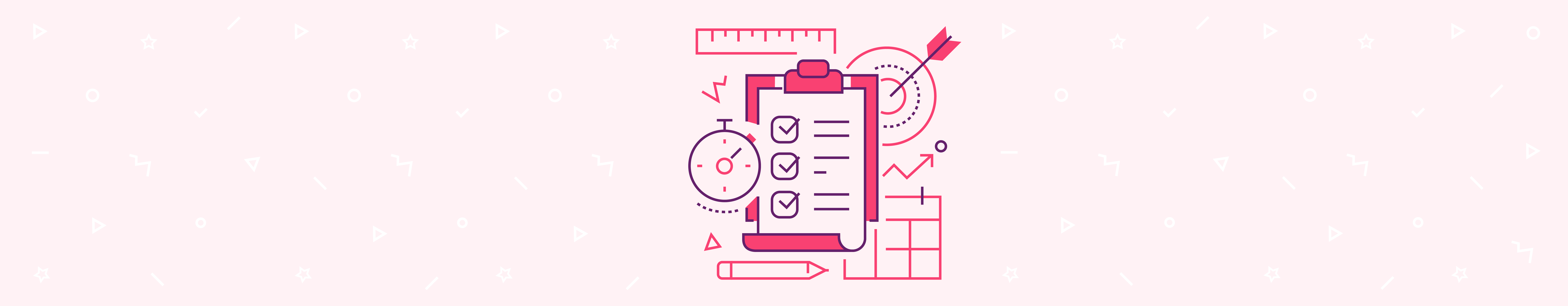 Image of project management tools in dark pink over pink background