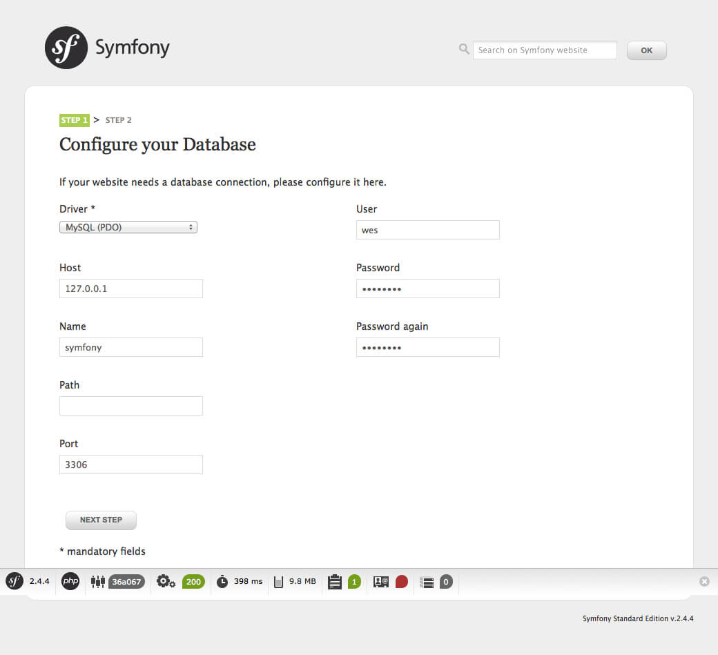 Configure Symfony Application Online