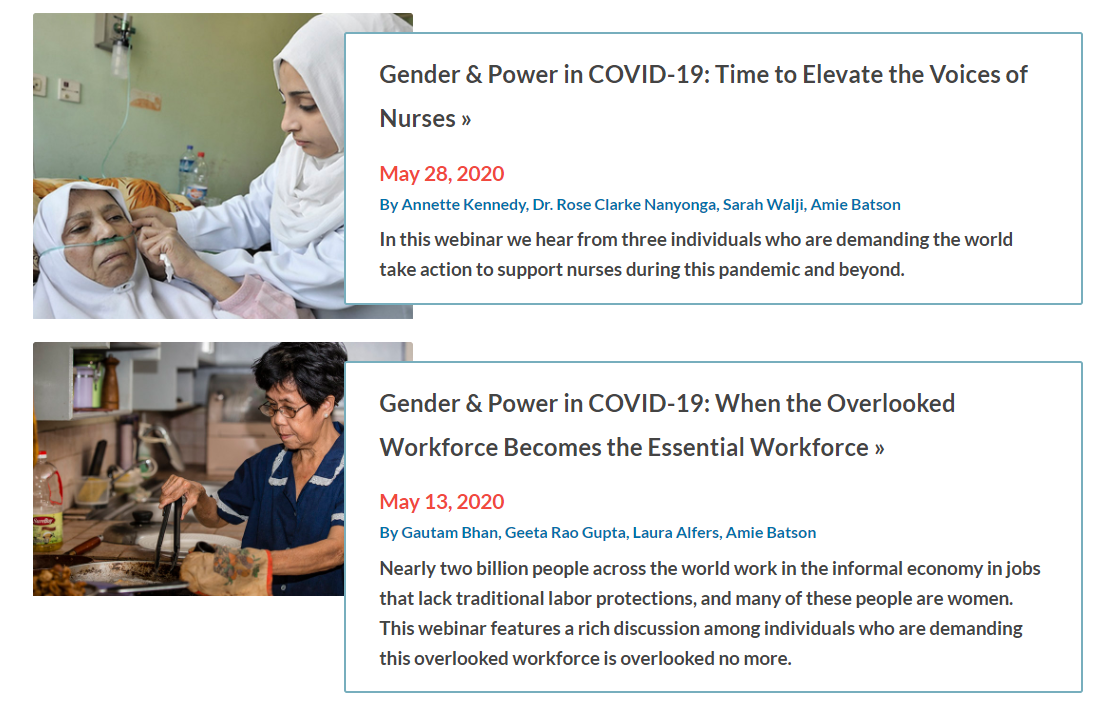 Image of different COVID related articles on WomenLift's site