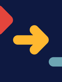 Red, yellow, and blue arrows on a navy background