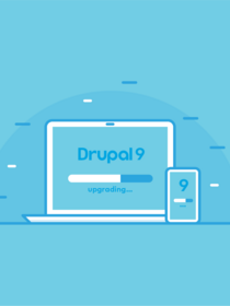 Laptop downloading the Drupal 9 upgrade