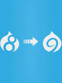 Image of Drupal 8 icon with arrow to Drupal 9 icon on blue background