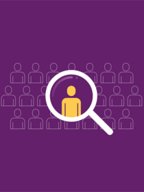 Magnifying glass focusing in on one yellow person icon surrounded by purple people icons on purple background