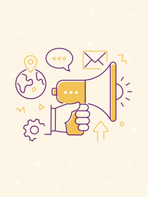 Images representing a remote marketing team on yellow background