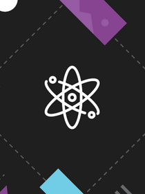 website design components surround an atom symbol