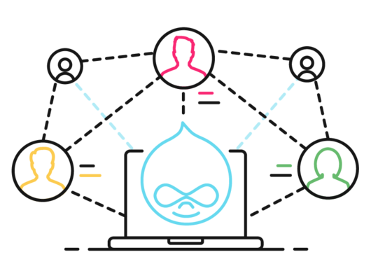 Art of three persona logos surrounding a Drupal icon