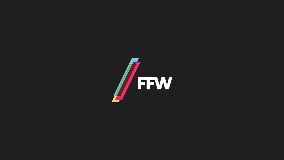 White FFW logo on black background