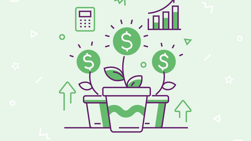 Images representing sales team productivity on green background